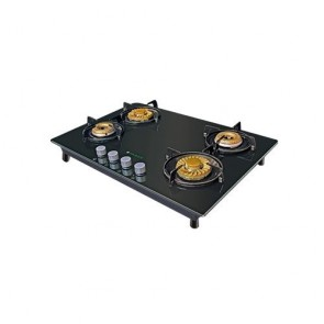 Faber HGG 754 CRR BR EI HT Built-in Gas Hob 75cm 4 Burner (Toughened black glass with Stainless Steel)